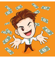 businessman happy have money vector image