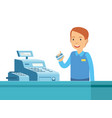 cartoon of happy man in the cashier with the vector image vector image
