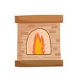 chimney bricks flame decoration icon vector image
