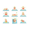 cute baby icons set vector image vector image