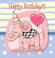 cute cartoon elephant with balloon vector image vector image