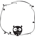cute funny owl sits on a frame a tree branch vector image vector image