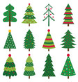 decorated christmas trees set vector image vector image