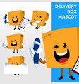 delivery box mascot character set logo icon vector image vector image