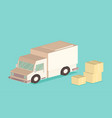 delivery van and cardboard packaging isometric vector image vector image