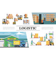 flat warehouse logistics composition vector image vector image