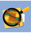 Fried fish on a pan on the table Dinner vector image