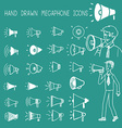 Hand drawn megaphone icons vector image