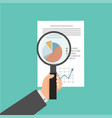 hand magnifying glass data analysis vector image