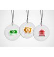 Hanging savings badges set vector image