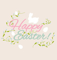 Happy Easter greeting card with flowers eggs and vector image vector image