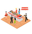 isometric charity banquet background vector image vector image