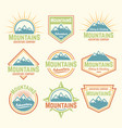 mountains isolated colored vintage badges vector image vector image