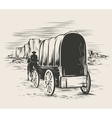 Old wagon in wild west prairies vector image