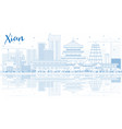 outline xian skyline with blue buildings and vector image vector image