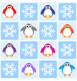 Penguins and snowflakes vector image vector image