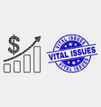 pixel profit up trend chart icon and grunge vector image vector image
