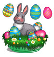 plush bunny lies on grass mat with easter eggs vector image vector image