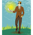 pop art of businessman holding vector image vector image