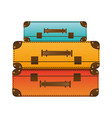 realistic silhouette with set of suitcases set in vector image