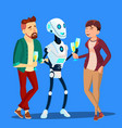 robot drinking champagne and laughing at party vector image