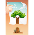 Save the world theme with wood and paper vector image vector image