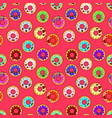 seamless background with sweet donut character vector image vector image