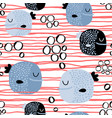 seamless childish pattern with funny fishcreative vector image