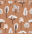 seamless pattern with various hand drawn trees on vector image vector image