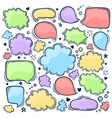 set hand drawn doodle colored speak bubbles vector image