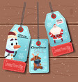 set of new year sale tags with cartoon snowman vector image
