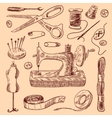 Sewing Icons Sketch Set vector image