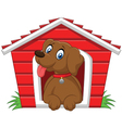 Smiling dog in his doghouse vector image