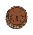 sweet cookie dessert kawaii cute cartoon vector image vector image