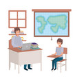 teacher in the geography class with students vector image