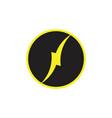 thunder letter n circle curves logo vector image vector image