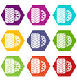 tire icons set 9 vector image vector image