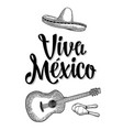 viva mexico lettering and guitar maracas and vector image