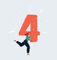 woman run with big number 4 vector image vector image