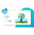 world in hands landing page template male vector image vector image
