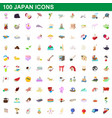 100 japan icons set cartoon style vector image