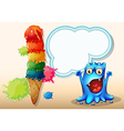 A cheerful blue monster near the colorful giant vector image vector image
