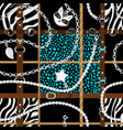 abstract pattern with leather belt and chain vector image vector image