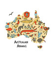 australian map with icons set sketch for your vector image vector image