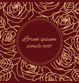 beige outline roses wreath greeting card vector image vector image