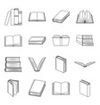books set icons in line style big collection of vector image