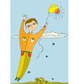 boy fly balloon vector image