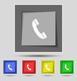 Call icon sign on original five colored buttons vector image vector image