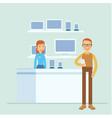 cartoon of customer when he in the digital shop vector image vector image