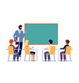 children study with teacher school inclusion vector image